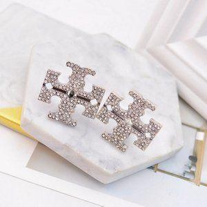 Tory Burch Silver Zircon Logo Earrings